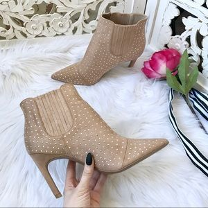 Shoes - Nude Studded Booties